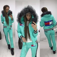 One-nice™ Tommy Hilfiger 2017 Winter Fashion Women Hoodie Top Sweater Trousers Two-Piece Down jacket