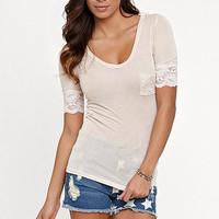 Kirra Lace Sleeve V-neck Top at PacSun.com
