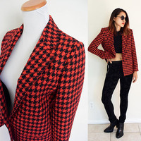 Vintage petite wool houndstooth fitted boy small red black punk rock 'n roll coat blazer jacket