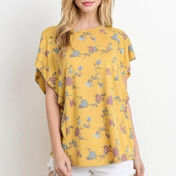 Happy Place Yellow Floral Shirt