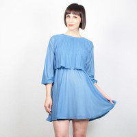 Vintage Blue Dress Mini Dress 1980s Dress Skater Skirt Secretary Dress Pin Pleated Top 80s Dress Long Sleeve Shirtdress XS S Extra Small M
