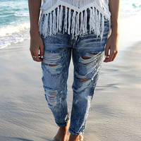 Madrid Faded Blue Acid Wash Distressed Boyfriend Jeans