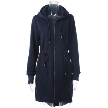 Autumn Casual Women Slim Long Trench Zipper Brand Coat Female Outerwear Hooded Coats WTA1001