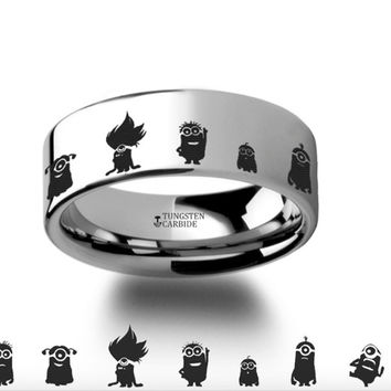 Despicable Me Minions Polished Tungsten Engraved Ring - 4mm - 8mm
