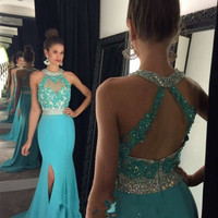 Evening Dress Sleeveless Open Back Sweep Train Long Mermaid Prom Dresses 2017 Formal Prom Gown Party Dress Vestido de Festa 2017