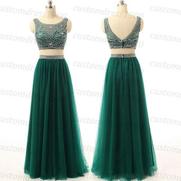 Cap Sleeve Green Two Pieces Prom Dress Handmade Beading Tulle Women Green Twp Pieces Long Prom Dress,Party Dress/Wedding Dress