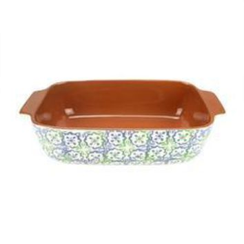 "12"" French Countryside Decorative Green & Blue Flower & Cross Rectangular Terracotta Oven Baking Dish"