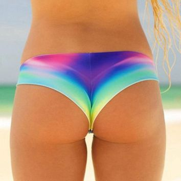 Sexy Women Bikini Swim Trunks Bow Black Short Summer Swim Brazilian Cheeky T-Back Cut Out Thong Bottom Beach Pants
