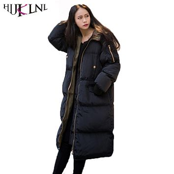 HIJKLNL Oversized Winter Coats and Jacket Women 2017 New Plus Size Long Thick Hooded Jacket Snowear Padded Parka Mujer NA418