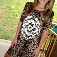 Crazy Cute Short Sleeve Leopard Cream Tribal Tunic