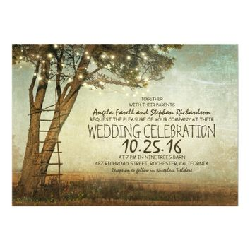 Rustic old tree & string lights wedding invitation