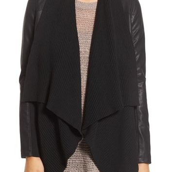 BLANKNYC 'All or Nothing' Knit Drape Faux Leather Jacket | Nordstrom
