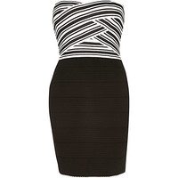 River Island Womens Black stripe bandeau bandage mini dress
