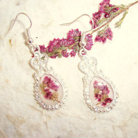 Heather Real Pressed Flower Filigree Silver Plated Drop Earrings (E36)