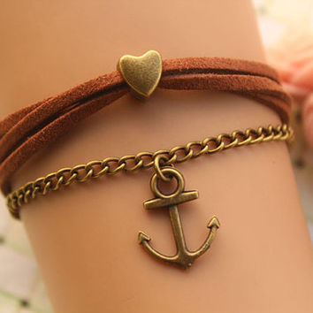 LOVE bracelet,retro bronze anchor and love heart bead bracelet,brown rope bracelet---B297
