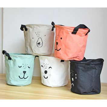 Modern Animal Lovely Expression Linen Office Home Sundries Card Storage Pen Pencil Holder Wire Basket Organizer Project Box