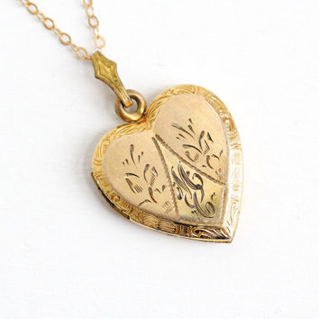 Vintage 12k Gold Filled Floral Heart Initial Locket Necklace- 1940s 1950s WWII Era Sweetheart Etched Flower Jewelry Monogrammed MC