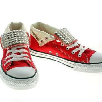 DCCK1IN studded converse silver pyramid studs with converse by customduo