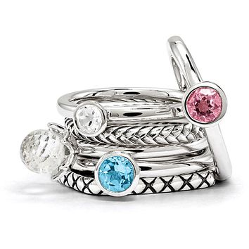 Sterling Silver Stackable Multi-Gemstones Ring Set
