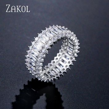 ZAKOL Korea Style Glitter Elegant Baguette Cubic Zircon Flower Finger Rings For Women Men Party Birthday Gift Jewelry FSRP243