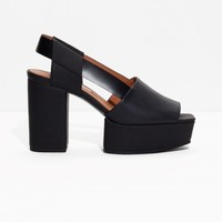 & Other Stories | Platform Leather Sandals | Black
