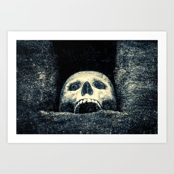 Old Human Skull In A Pagan Temple Art Print by digital2real