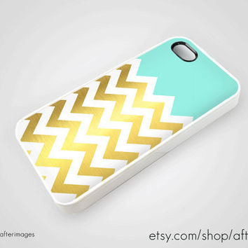 Mint Gold Chevron iPhone 5 4 4S Case iPhone 4 New Print Cute Spring Pastel Silicone