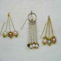 Hijab Pins , Scarf Pin, HatPin, Lapel Pin with Plated Silver, Gold Chains and Head Pins