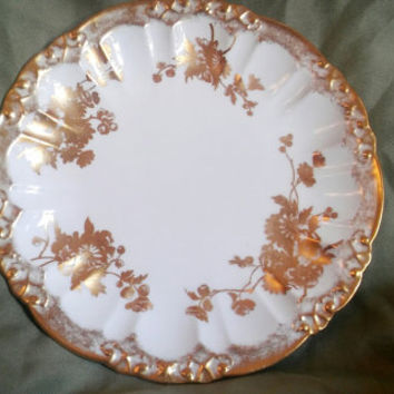 Vintage Bone China Made In England Hammersley & Co. Vintage Gold Trim and Floral Design 9 Inch Plate