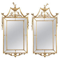 Fine Pair of English Hepplewhite Period Giltwood Mirrors, circa 1780