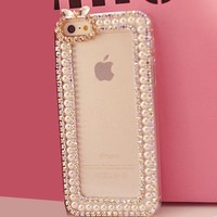 Candymaker Handmade Luxury Crystal Rhinestone Diamond Pearl Bling Skin Case Cover For IPHONE 5C (Transparent)+ Stylus + 2 In 1 Winebottle Style Phone Charm/Anti-dust Plug