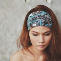 Black Friday - Cyber Monday SALE / Pleat Plzz, Turquoise, Paisley Turkish print, Hippie Headband, Hippie Head wraps, Hair bow, Scarf