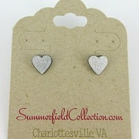Stainless Steel Silver and White Glitter Acrylic Heart Stud Earrings 8mm