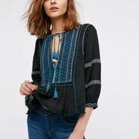 Free People Wild Life Embroidered Top