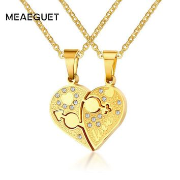 Meaeguet Male/Female Symbol Heart Necklace Pendant Silver/Gold Color Couple Love Forever Wedding Stainless Steel Jewelry