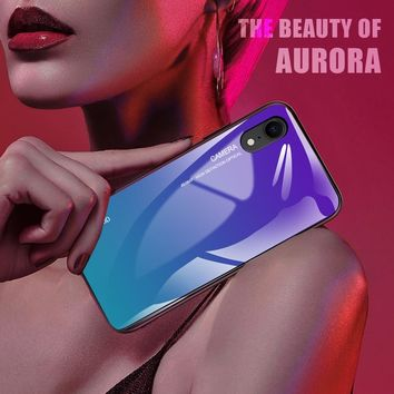 Translucent Gradient Tempered Glass Case For Iphone X Soft Protect Cover Xr Xs Max 6 7 8 Plus Glass Case On 6plus 7plus 8plus 5s