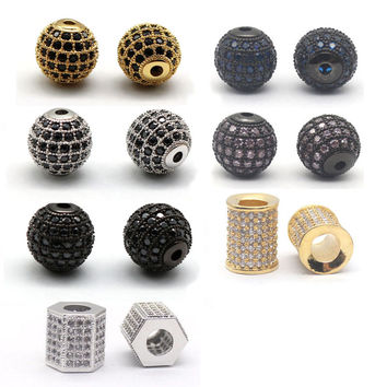 Gold Plated CZ Brass Metal Micro Pave Cubic Zirconia Ball Round Bead Spacer Beads For Jewelry Making Supplies Accessories