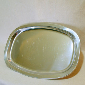 MINIMALIST DANISH MODERN Large Vintage Silver Cocktail Tray by Gense Sweden Stainless Steel Simple Scandinavian Design