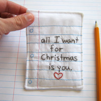 Christmas Love Note Hand Embroidered with by cornflowerbluestudio