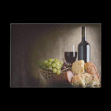 Wine Cheese and Grapes Cutting Board