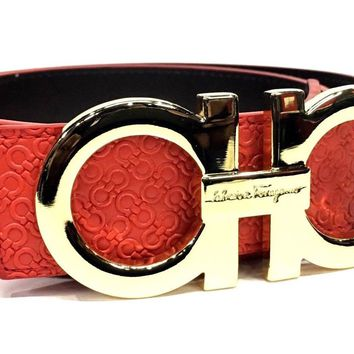 Salvatore Ferragamo Belt | Size 34 or 85 cm | Red Leather | Gold Buckle | LH