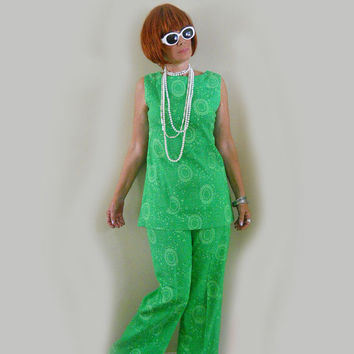 Vintage Summer Pant Suit - 1960s Bell Bottom Pants - Tunic - Micro Mini Dress