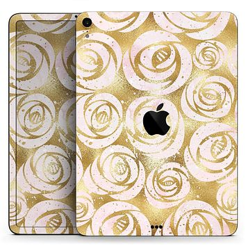 """Karamfila Watercolor & Gold V1 - Full Body Skin Decal for the Apple iPad Pro 12.9"""", 11"""", 10.5"""", 9.7"""", Air or Mini (All Models Available)"""