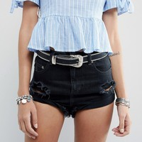 Missguided Chain Edge Western Buckle Belt at asos.com