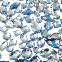80  Light Blue  Faceted Acrylic Sew On, Stick on Diamante Crystal Rhinestone Gems
