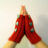 Red Mittens, Hand warmers, Fingerless Gloves, Silver Metal Heart Buttons