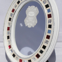 Oval Tabletop Mirror  Mosaic Mirror   9 x 12 Mirror  Cottage Chic Mirror  Framed Mirror  Gift for Her  OOAK Mirror