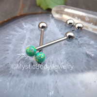 "Opal Cheek Piercing Barbell 14g Green Gem Dimple Piercings 5/8"" Opals Internally Threaded Barbells Body Jewelry Gemstone Ball Ends Stainless"