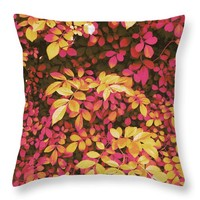 Foliage Hues - Orange And Pink Throw Pillow