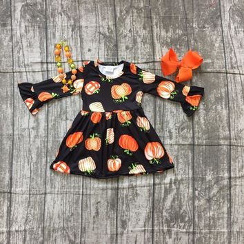 Fall/winter Halloween dress baby girls long sleeves black pumpkin print milk silk clothing boutique kids wear match accessories